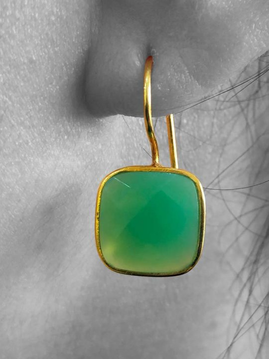 Faceted Apple Green Chrysoprase Gemstone Earrings