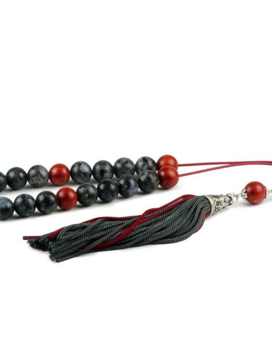 Labradorite & Sponge Coral Gemstone Greek Komboloi Worry Beads Tassel
