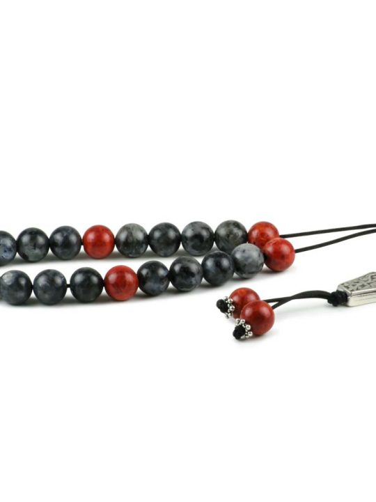 Labradorite & Sponge Coral Gemstone Greek Komboloi Worry Beads