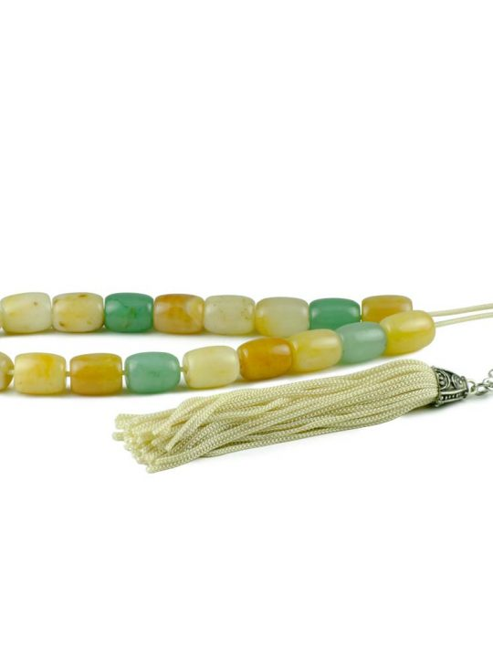 Green & Yellow Aventurine Gemstone Greek Worry Beads Komboloi