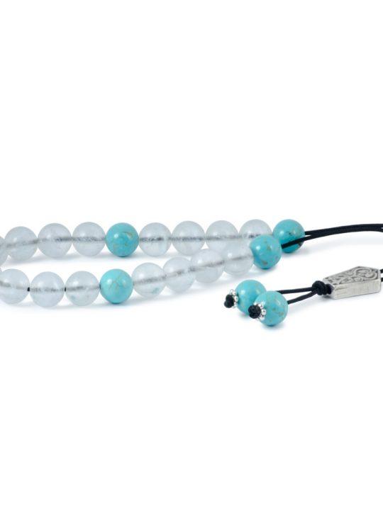 Quartz & Turquoise Gemstone Greek Worry Beads Komboloi