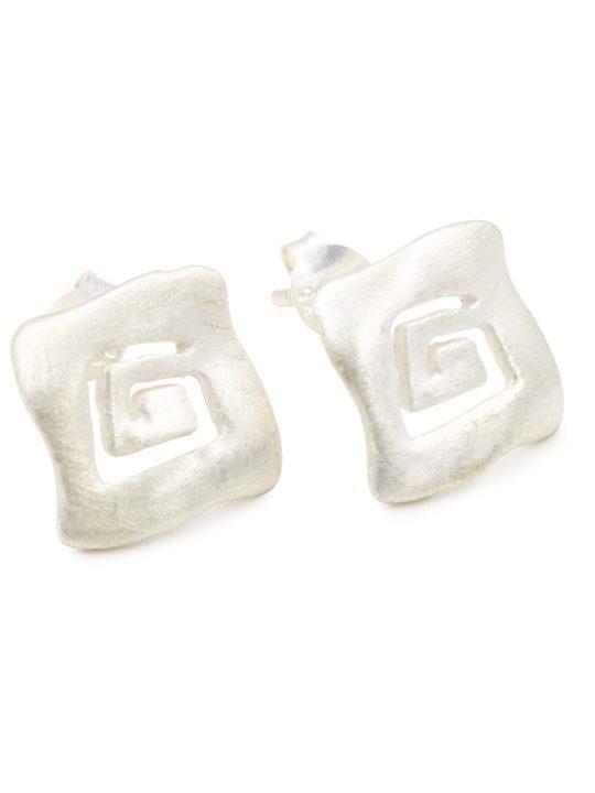Sterling Silver 925 Push Back Earrings Meander Symbol
