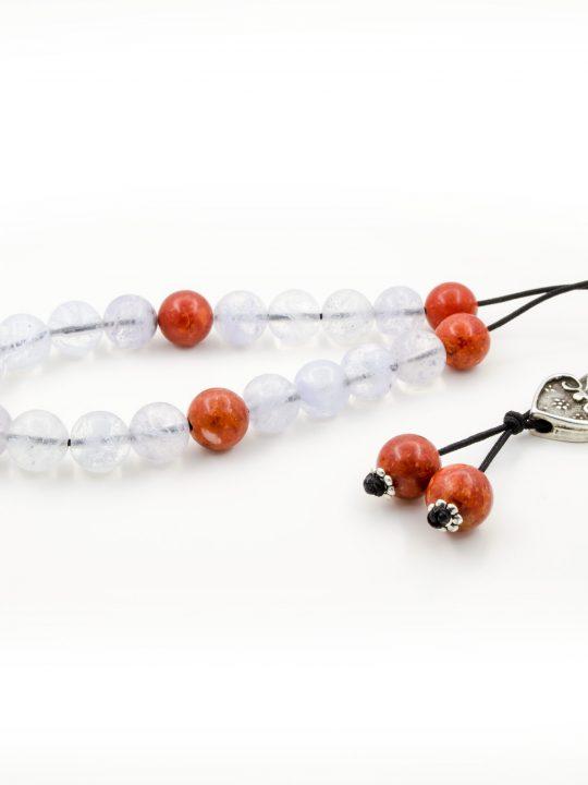 Quartz & Soft Red Coral Gemstone Greek Worry Beads Komboloi